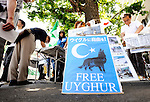 People sign a petition demanding freedom for Uyghur  in Tokyo on Saturday 15 Aug. 2009. Aug. 15 marks the 64th anniversary of Japan's surrender in the Pacific War.