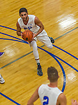 22 November 2015: Yeshiva University Maccabee Forward Joseph Ammar, a Senior from Miami, FL, sets to pass during the second half of play against the Hunter College Hawks at the Max Stern Athletic Center  in New York, NY. The Maccabees defeated the Hawks 81-71 in non-conference play, for their second win of the season. Mandatory Credit: Ed Wolfstein Photo *** RAW (NEF) Image File Available ***