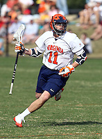 Virginia men's lacrosse player George Huguely, 22, a fourth-year student from Chevy Chase, Md., seen here playing with the team March 23, 2010 in Charlottesville, Va. Huguely has been charged with the murder of UVa women's lacrosse player Yeardley Love, 22, a fourth-year student from Cockeysville, Md., who was found dead in her apartment early Monday morning in Charlottesville, VA. Photo/Andrew Shurtleff..