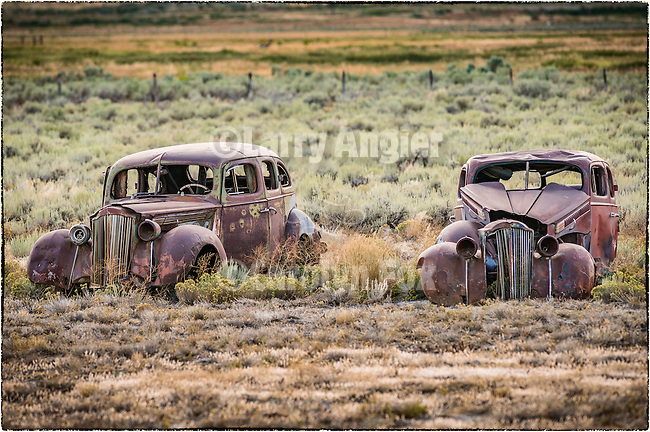 Roadside car and and truck collection weathering along the road, East Ely, Nev.