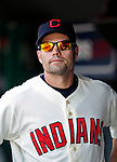 6 September 2009: Cleveland Indians' utilityman Jamey Carroll looks out from the dugout prior to a game against the Minnesota Twins at Progressive Field in Cleveland, Ohio. The Indians defeated the Twins 3-1 to take the rubber match of their three-game weekend series. Mandatory Credit: Ed Wolfstein Photo