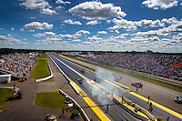 Aug 21, 2016; Brainerd, MN, USA; Overall view of Brainerd International Raceway during NHRA top fuel eliminations for the Lucas Oil Nationals. Mandatory Credit: Mark J. Rebilas-USA TODAY Sports