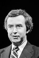 06 Feb 1980, Peterborough, Ontario, Canada --- Canadian Progressive Conservative Joe Clark campaigns ahead of the May 22 legislative elections. Aged 39, he was the sixteenth prime minister of Canada from June 4, 1979, to March 3, 1980. --- Image by © JP Laffont
