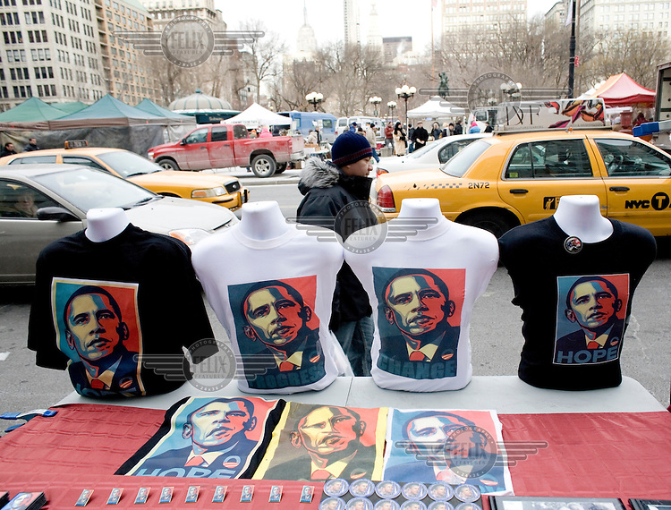 Souvenirs for sale ahead of the inauguration of Barack Obama as the 44th President of the United States.