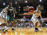 INDIANAPOLIS, IN - FEBRUARY 13: Darion Clark #1 of the Charlotte 49ers and Alex Barlow #3 of the Butler Bulldogs watch a loose ball go out of bounds at Hinkle Fieldhouse on February 13, 2013 in Indianapolis, Indiana. Charlotte defeated Butler 71-67. (Photo by Michael Hickey/Getty Images) *** Local Caption *** Darion Clark; Alex Barlow