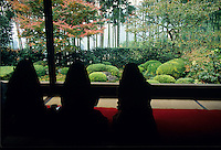 Autumn visitors to the Jikko-in in Ohara can sit and contemplate the orange maples while sipping a cup of green tea.