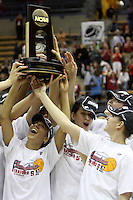 BERKELEY, CA - MARCH 30: Ros Gold-Onwude, Grace Mashore, Michelle Harrison and Jeanette Pohlen hoist the regional champions trophy following Stanford's 74-53 win against the Iowa State Cyclones on March 30, 2009 at Haas Pavilion in Berkeley, California.