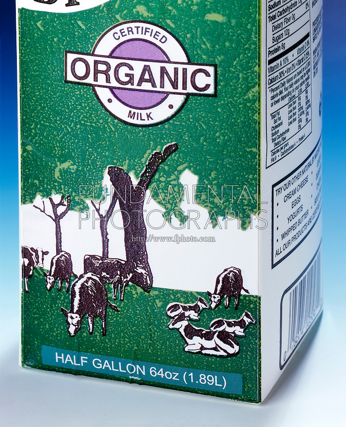 METRIC CONVERSION ON A MILK CARTON - Closeup of Label<br />
