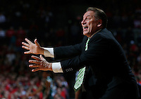 Michigan State Spartans head coach Tom Izzo reacts in the first half of the NCAA men's basketball game between the Ohio State Buckeyes and the Michigan State Spartans at Value City Arena in Columbus, Ohio, Sunday afternoon, March 9, 2014. As of half time the Michigan State Spartans led the Ohio State Buckeyes 38 - 36. (The Columbus Dispatch / Eamon Queeney)
