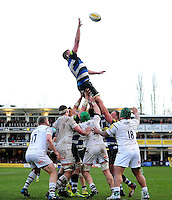 Stuart Hooper of Bath Rugby rises high to win lineout ball. Aviva Premiership match, between Bath Rugby and London Irish on March 5, 2016 at the Recreation Ground in Bath, England. Photo by: Patrick Khachfe / Onside Images