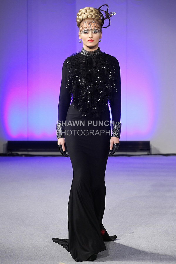 Model walks runway in an outfit from the Catalin Botezatu Haute Couture Tsarina Collection, by Catalin Botezatu, during Couture Fashion Week New York Fall 2012.
