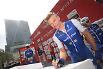 Marcel Kittel (GER) Quick-Step Floors at sign on before the start of Stage 2 the Nation Towers Stage of the 2017 Abu Dhabi Tour, running 153km around the city of Abu Dhabi, Abu Dhabi. 24th February 2017<br /> Picture: ANSA/Claudio Peri | Newsfile<br /> <br /> <br /> All photos usage must carry mandatory copyright credit (&copy; Newsfile | ANSA)