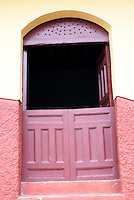 Colourful door of a restored house in the Spanish colonial city of Granada, Nicaragua