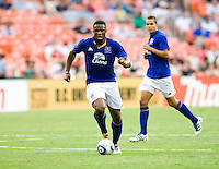 Victor Anichebe (8) of Everton carries the ball up the field during their friendly match held at RFK Stadium in Washington, DC.  D.C. United lost to Everton, 3-1.