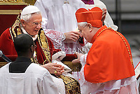 Italian cardinal Giuseppe Bertello  , Pope Benedict XVI leads the Consistory where he will appoint 22 new cardinals on February 18, 2012 at St Peter's basilica at the Vatican.