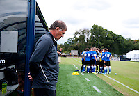 Creighton head coach Elmar Bolowich waits for the start of the game at Shaw Field on the campus of the Georgetown University in Washington, DC.  Georgetown tied Creighton, 0-0, in double overtime.