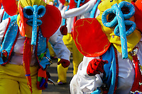 Colombian men, wearing the traditional Marimonda costume, dance during the Carnival in Barranquilla, Colombia, 27 February 2006. The Carnival of Barranquilla is a unique festivity which takes place every year during February or March on the Caribbean coast of Colombia. A colourful mixture of the ancient African tribal dances and the Spanish music influence - cumbia, porro, mapale, puya, congo among others - hit for five days nearly all central streets of Barranquilla. Those traditions kept for centuries by Black African slaves have had the great impact on Colombian culture and Colombian society. In November 2003 the Carnival of Barranquilla was proclaimed as the Masterpiece of the Oral and Intangible Heritage of Humanity by UNESCO.