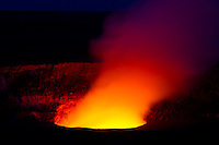 Halema'uma'u Crater glows with Pele's fire, Hawai'i Volcanoes National Park, Big Island.