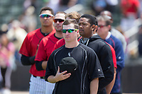 Kannapolis Intimidators pitcher Alex Katz (20) stands for the National Anthem prior to the game against the Asheville Tourists at Kannapolis Intimidators Stadium on May 7, 2017 in Kannapolis, North Carolina.  The Tourists defeated the Intimidators 4-1.  (Brian Westerholt/Four Seam Images)