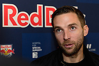 Bobby Convey of the New York Red Bulls is interviewed at Red Bull Arena in Harrison, NJ, on January 24, 2014.