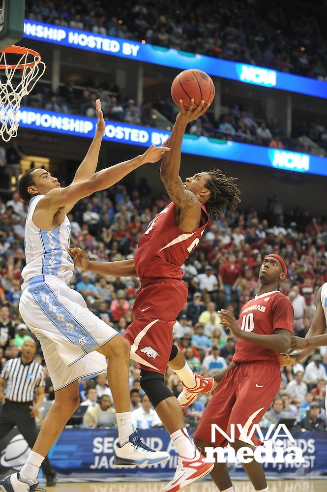 NWA Democrat-Gazette/Michael Woods --03/21/2015--w@NWAMICHAELW... University of Arkansas vs North Carolina during Saturdays game in the 2015 NCAA basketball tournament at Jacksonville Veterans Memorial Arena in Jacksonville, Florida.