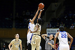29 January 2017: Duke's Leaonna Odom (5) wins the opening tipoff against Wake Forest's Milan Quinn (32). The Duke University Blue Devils hosted the Old Dominion University Monarchs at Cameron Indoor Stadium in Durham, North Carolina in a 2016-17 Division I Women's Basketball game. Duke won the game 71-43.