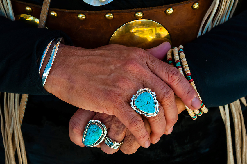 A Northern Cheyenne woman's turquoise jewelry, Indian Pueblo Culture Center, Albuquerque, New Mexico USA.