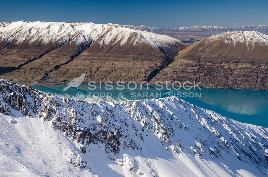 Lake Ohau in Winter, Mackenzie Country, South Island, New Zealand - stock photo, canvas, fine art print