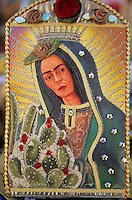 An astist at the Santa Fe Spanish market merged the images of the Virgin of Guadalupe and that of Mexican painter Frieda Kahlo to create a symbol of feminine energy.