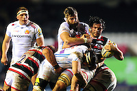 Dom Barrow of Leicester Tigers is double-tackled by Geoff Parling and Don Armand of Exeter Chiefs. Aviva Premiership match, between Leicester Tigers and Exeter Chiefs on March 3, 2017 at Welford Road in Leicester, England. Photo by: Patrick Khachfe / JMP