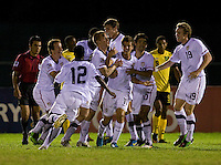 Marc Pelosi (11) of the United States celebrates his goal with teammates during the semifinals of the CONCACAF Men's Under 17 Championship at Catherine Hall Stadium in Montego Bay, Jamaica. The United States defeated Jamaica, 2-0.