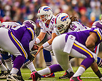 19 October 2014: Buffalo Bills quarterback Kyle Orton takes a snap in the first quarter against the Minnesota Vikings at Ralph Wilson Stadium in Orchard Park, NY. The Bills defeated the Vikings 17-16 in a dramatic, last minute, comeback touchdown drive. Mandatory Credit: Ed Wolfstein Photo *** RAW (NEF) Image File Available ***