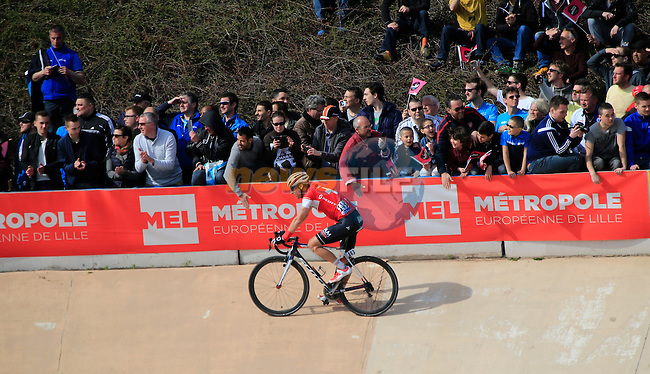 Martin Elmiger (SUI) IAM Cycling finishes 5th place in the famous Roubaix Velodrome at the end of the 113th edition of the Paris-Roubaix 2015 cycle race held over the cobbled roads of Northern France. 12th April 2015.<br /> Photo: Eoin Clarke www.newsfile.ie
