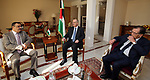 Palestinian Prime Minister Rami Hamdallah meets with Minister of Agriculture of Tunisia Samir El Tayeb, in Tunis on April 6, 2017. Photo by Prime Minister Office