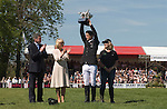 New Zealand's Jonathan Jock Paget triumphed in an extraordinary climax to Britain's Mitsubishi Motors Badminton Horse Trials, seen here with Uk chairman of Mitsubishi Motors Lance Bradley  prizes being handed out by HRH Duchess of Cornwall Camilla Parker Bowles, the groom to right of photo.