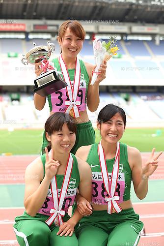 (L to R) <br /> Sayaka Adachi, <br /> Anna Fujimori, <br /> Sae Shimada (), <br /> MAY 20, 2016 - Athletics : <br /> The 95th Kanto University Athletics Championship <br /> Women's 100m Award Ceremony <br /> at Nissan Stadium, Kanagawa, Japan. <br /> (Photo by YUTAKA/AFLO SPORT)