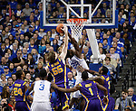 UK forward Alex Poythress attempts a shot that LSU center Andrew Del Piero unsuccessfully tries to block during the first half of the men's basketball game vs. LSU at Rupp Arena, in Lexington, Ky., on Saturday, January 26, 2013. Photo by Genevieve Adams  | Staff.