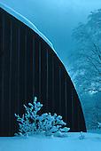 Quonset hut building in Covington Michigan in winter.