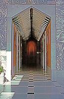 Helmut Jahn: One America Plaza, San Diego. Elevator bank.  Photo '92.