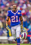 9 November 2014: Buffalo Bills cornerback Leodis McKelvin trots back to the sidelines after a 22 yard punt return in the first quarter against the Kansas City Chiefs at Ralph Wilson Stadium in Orchard Park, NY. The Chiefs rallied with two fourth quarter touchdowns to defeat the Bills 17-13. Mandatory Credit: Ed Wolfstein Photo *** RAW (NEF) Image File Available ***