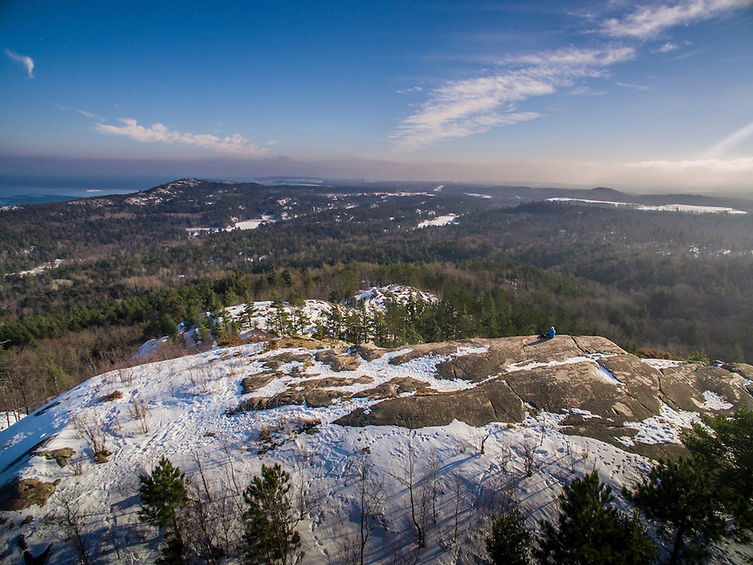 Aerial view from Hogback Mountain near Marquette, Michigan in winter.