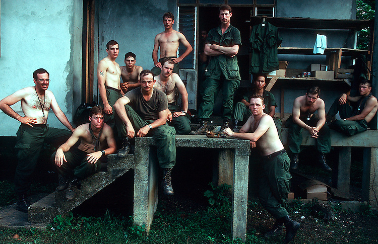 U S soldiers on a break, a week after they had invaded the Caribbean island of Grenada: Dec 1983<br /> &copy;2005 David Burnett/Contact