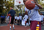 {June 27, 2012} {4:00pm} -- New York, NY, U.S.A.Duke basketball star Austin Rivers plays ball with kids at the Dunlevy Milbank Boys &amp; Girls Club in Harlem before the NBA draft Thursday in Manhattan, New York on June 27, 2012. .