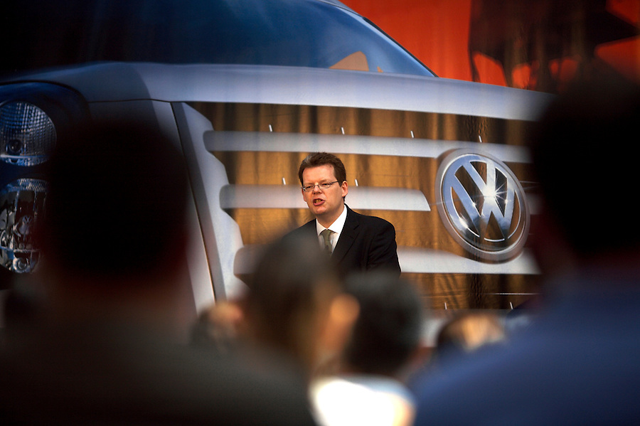 Photo: © Martin Beddall 5-7-06.VW Crafter van presentation day at Dover. Introducing the new van to Uk dealers and their customers as part of a roadshow around the UK..Ralf Schueler, Head of Marketing VW Commercial vehicles gives the opening presentation.