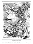 """The Wooden Dove. """"It came to me in a nightmare, Hermann - my secret weapon against the Allies for the next year's campaign."""" (a wooden dove of peace rides on a tank with gun turrets and a sword in its beak)"""
