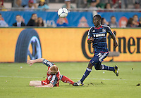 12 September 2012: Chicago Fire forward Patrick Nyarko #14 and Toronto FC defender Richard Eckersley #27 in action during an MLS game between the Chicago Fire and Toronto FC at BMO Field in Toronto, Ontario..The Chicago Fire won 2-1..