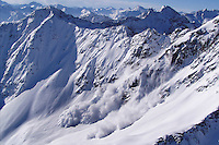 St Anton am Arlberg, Tyrol, Austria, January 2006.  Safety Teams of the Avalanche commission blow up pontential avalanches before they can become a threat to the public. The Bergrettung Tirol mountain rescue teams have to respond to avalanches within 30 minutes if the victims are to have any chance of surviving. photo by Erwin Hellweger/Lawine commission St Anton/Adventure4ever.com