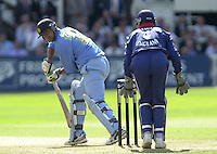.13/07/2002.Sport - Cricket -NatWest Series Final- Lords.England vs India.Dinesh Mongia slips tha ball past keeper Alex Stewart