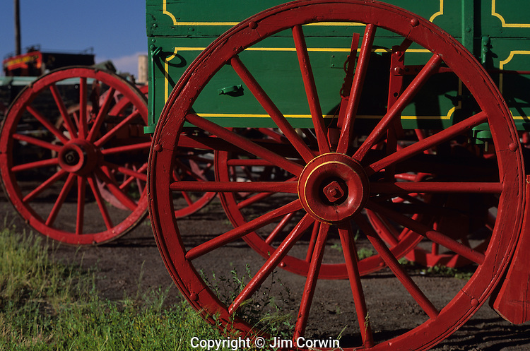 Carriage wagon bright red wheels close-up in the ghost town of Shaniko Central Oregon State USA