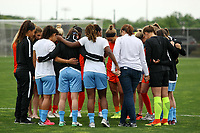 Piscataway, NJ - Saturday May 20, 2017: Sky Blue and Houston players in circle of solidarity prior to a regular season National Women's Soccer League (NWSL) match between Sky Blue FC and the Houston Dash at Yurcak Field.  Sky Blue defeated Houston, 2-1.
